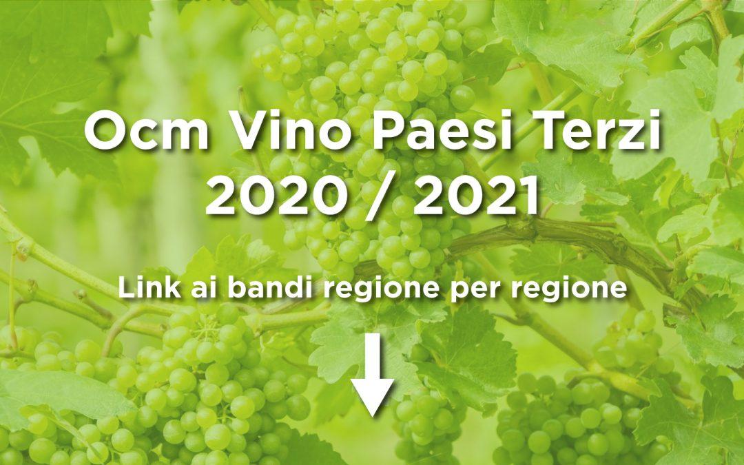 Ocm Vino Paesi Terzi 2020 – 2021: i bandi regione per regione