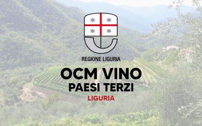 Fuori il bando Ocm Vino Paesi Terzi 2021 – 2022 Regione Liguria